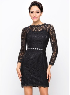 Sheath/Column Scoop Neck Short/Mini Charmeuse Lace Cocktail Dress With Beading