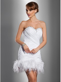 Sheath/Column Sweetheart Short/Mini Organza Satin Wedding Dress With Ruffle Beading Feather Flower(s)