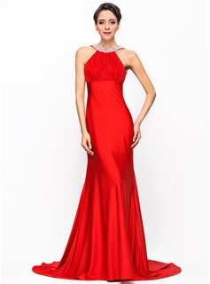 Trumpet/Mermaid Scoop Neck Court Train Jersey Evening Dress With Ruffle Beading Sequins Bow(s)
