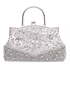 Fashional Silk With Sequin/Imitation Pearl Top Handle Bags