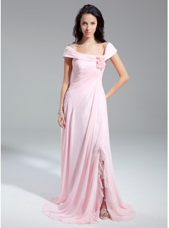 A-Line/Princess Off-the-Shoulder Chapel Train Chiffon Evening Dress With Ruffle Flower(s) (017014899)