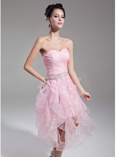 A-Line/Princess Sweetheart Tea-Length Organza Cocktail Dress With Beading Sequins Cascading Ruffles
