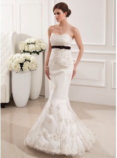 Mermaid Sweetheart Sweep Train Satin Tulle Wedding Dress With Lace Sash Beadwork (002019531)