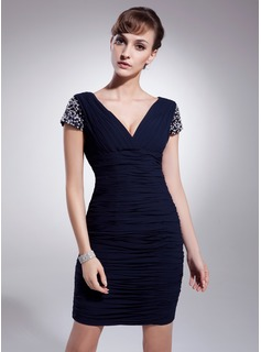Sheath V-neck Short/Mini Chiffon Cocktail Dress With Ruffle Beading Sequins (016021216)