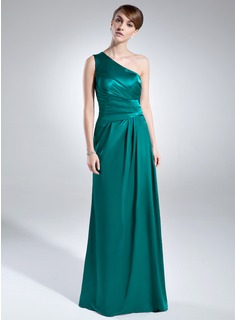 A-Line/Princess One-Shoulder Floor-Length Charmeuse Mother of the Bride Dress With Ruffle