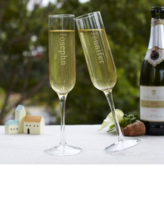 Personalized Modern Glass Toasting Flutes (Set of 2)