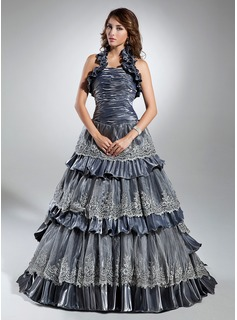 Ball-Gown Halter Sweep Train Taffeta Organza Quinceanera Dress With Lace Cascading Ruffles
