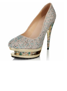 Women's Suede Stiletto Heel Closed Toe Pumps With Rhinestone Jewelry Heel (047040908)