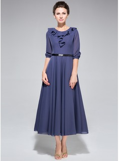 A-Line/Princess Scoop Neck Tea-Length Chiffon Charmeuse Mother of the Bride Dress With Sash Cascading Ruffles