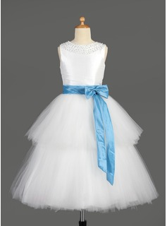 A-Line/Princess Scoop Neck Tea-Length Taffeta Tulle Flower Girl Dress With Sash Beading Sequins Bow(s)