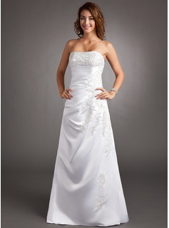 A-Line/Princess Strapless Sweep Train Satin Wedding Dress With Lace Beadwork