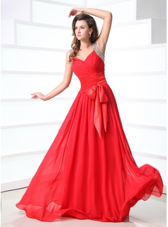 A-Line/Princess V-neck Floor-Length Chiffon Charmeuse Prom Dress With Ruffle Beading Bow