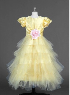 A-Line/Princess Scoop Neck Ankle-Length Tulle Charmeuse Flower Girl Dress With Ruffle Flower(s)