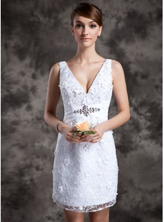 Sheath/Column V-neck Short/Mini Lace Wedding Dress With Beadwork