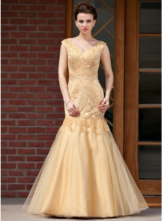 Trumpet/Mermaid V-neck Floor-Length Tulle Mother of the Bride Dress With Lace Beading (008018982)