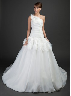 Ball-Gown One-Shoulder Chapel Train Organza Wedding Dress With Ruffle