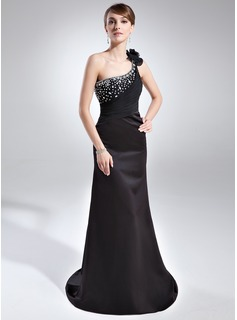 Sheath One-Shoulder Court Train Satin Evening Dress With Ruffle Beading