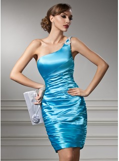Sheath One-Shoulder Short/Mini Charmeuse Cocktail Dress With Ruffle Beading (016008535)