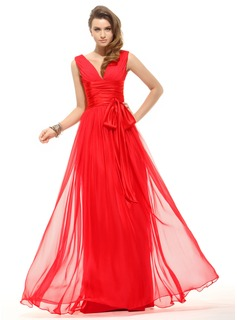 A-Line/Princess V-neck Floor-Length Chiffon Charmeuse Holiday Dress With Ruffle Bow(s)