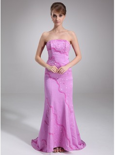 Mermaid Strapless Sweep Train Satin Evening Dress With Beading (017016840)