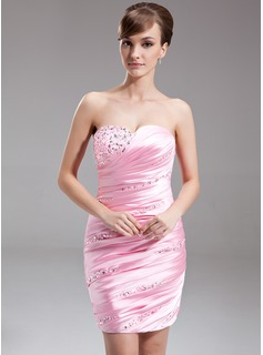 Sheath Sweetheart Short/Mini Charmeuse Cocktail Dress With Ruffle Beading Sequins