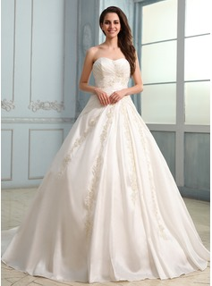 Ball-Gown Sweetheart Chapel Train Taffeta Wedding Dress With Ruffle Lace Beadwork (002030757)