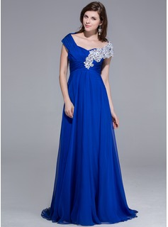 A-Line/Princess Off-the-Shoulder Sweep Train Chiffon Evening Dress With Beading Appliques