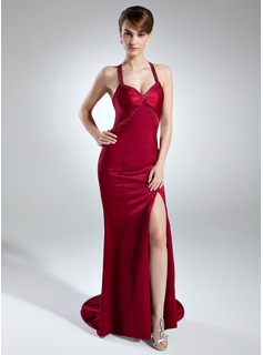 Sheath Sweetheart Sweep Train Charmeuse Evening Dress With Beading