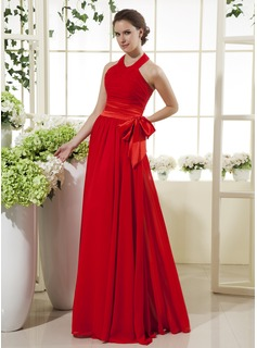A-Line/Princess Halter Floor-Length Chiffon Charmeuse Mother of the Bride Dress With Ruffle Bow(s)