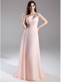 A-Line/Princess One-Shoulder Court Train Chiffon Evening Dress With Ruffle Beading (017015805)