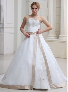 Ball-Gown Strapless Chapel Train Organza Satin Wedding Dress With Embroidery Sashes Beadwork (002011668)