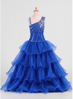 A-Line/Princess Floor-Length Organza Flower Girl Dress With Beading Sequins (010007469)