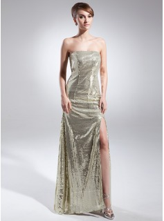 Sheath Strapless Floor-Length Sequined Prom Dress