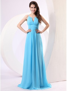 A-Line/Princess Scoop Neck Floor-Length Chiffon Holiday Dress With Ruffle (020014279)