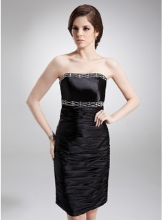 Sheath Strapless Knee-Length Charmeuse Cocktail Dress With Ruffle Beading