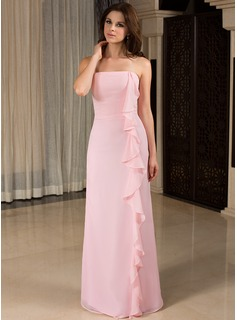 Sheath Strapless Floor-Length Chiffon Bridesmaid Dress With Ruffle