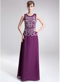 A-Line/Princess Scoop Neck Floor-Length Chiffon Mother of the Bride Dress With Embroidered Beading Sequins