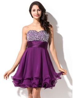 Empire Sweetheart Short/Mini Chiffon Charmeuse Homecoming Dress With Beading