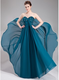 Empire Sweetheart Floor-Length Chiffon Evening Dress With Ruffle Lace Beading Sequins