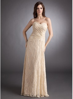 A-Line/Princess Sweetheart Floor-Length Lace Evening Dress With Ruffle