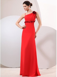 A-Line/Princess Floor-Length Chiffon Evening Dress With Flower(s) (017014046)
