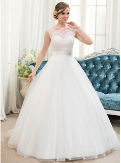 Ball-Gown Scoop Neck Sweep Train Organza Lace Wedding Dress With Beading Sequins