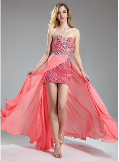 A-Line/Princess Sweetheart Floor-Length Chiffon Charmeuse Prom Dress With Beading Sequins