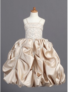 A-Line/Princess Floor-Length Satin Flower Girl Dress With Embroidered Ruffle Beading