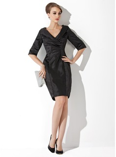 Sheath/Column V-neck Short/Mini Charmeuse Mother of the Bride Dress With Ruffle