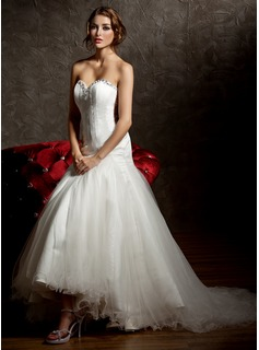 Mermaid Sweetheart Asymmetrical Satin Tulle Wedding Dress With Ruffle Beadwork (002011429)