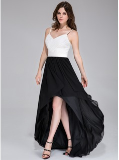 A-Line/Princess Sweetheart Asymmetrical Chiffon Prom Dress With Ruffle