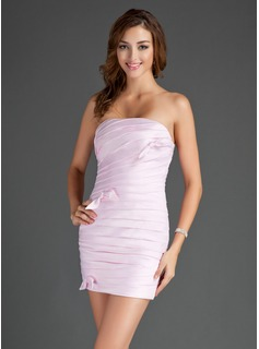 Sheath/Column Strapless Short/Mini Satin Cocktail Dress With Ruffle Bow(s)
