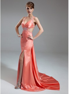 A-Line/Princess V-neck Watteau Train Charmeuse Evening Dress With Ruffle Beading