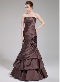 Mermaid Sweetheart Floor-Length Taffeta Evening Dress With Ruffle Flower(s) (017019557)